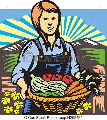 Clip Art Vector of Organic Farmer Farm Produce Harvest Retro.