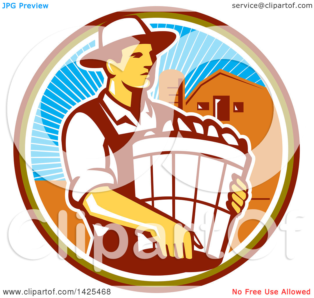 Clipart of a Retro Male Organic Farmer Carrying a Bushel of.