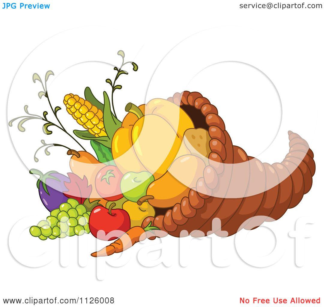Cartoon Of A Thanksgiving Cornucopia Horn Of Plenty Full Of.