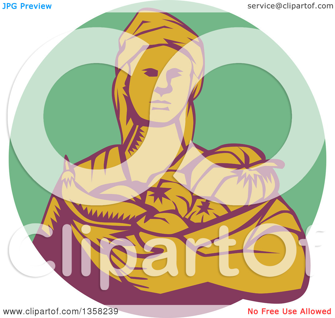 Clipart of a Retro Woodcut Female Farmer Holding a Basket of.