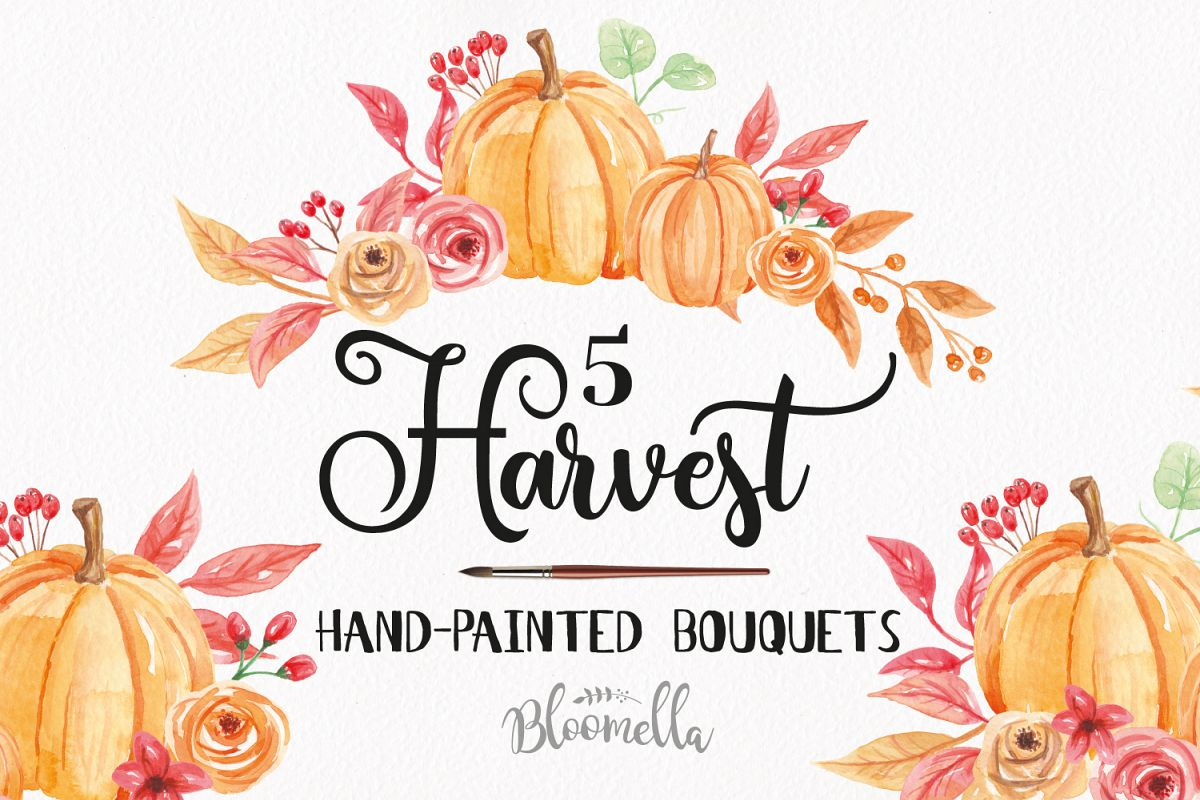 Watercolor Pumpkin Clipart Bouquets Harvest Autumn Fall.