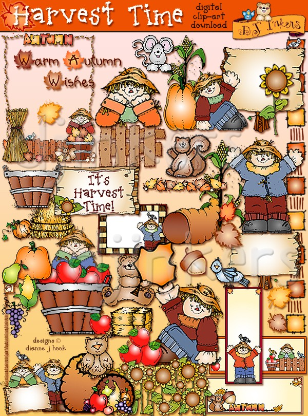 Cute autumn clip art for Harvest Time by DJ Inkers.
