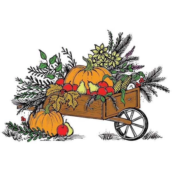 Harvest Wagon Rubber Stamp.
