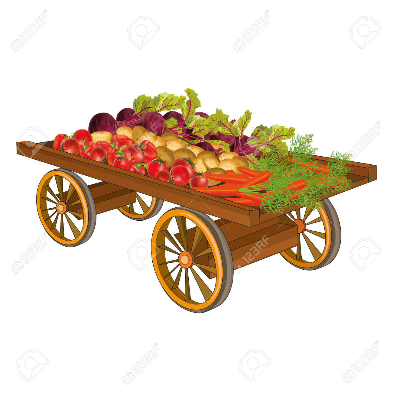 Wooden Cart With Harvest Of Vegetables.