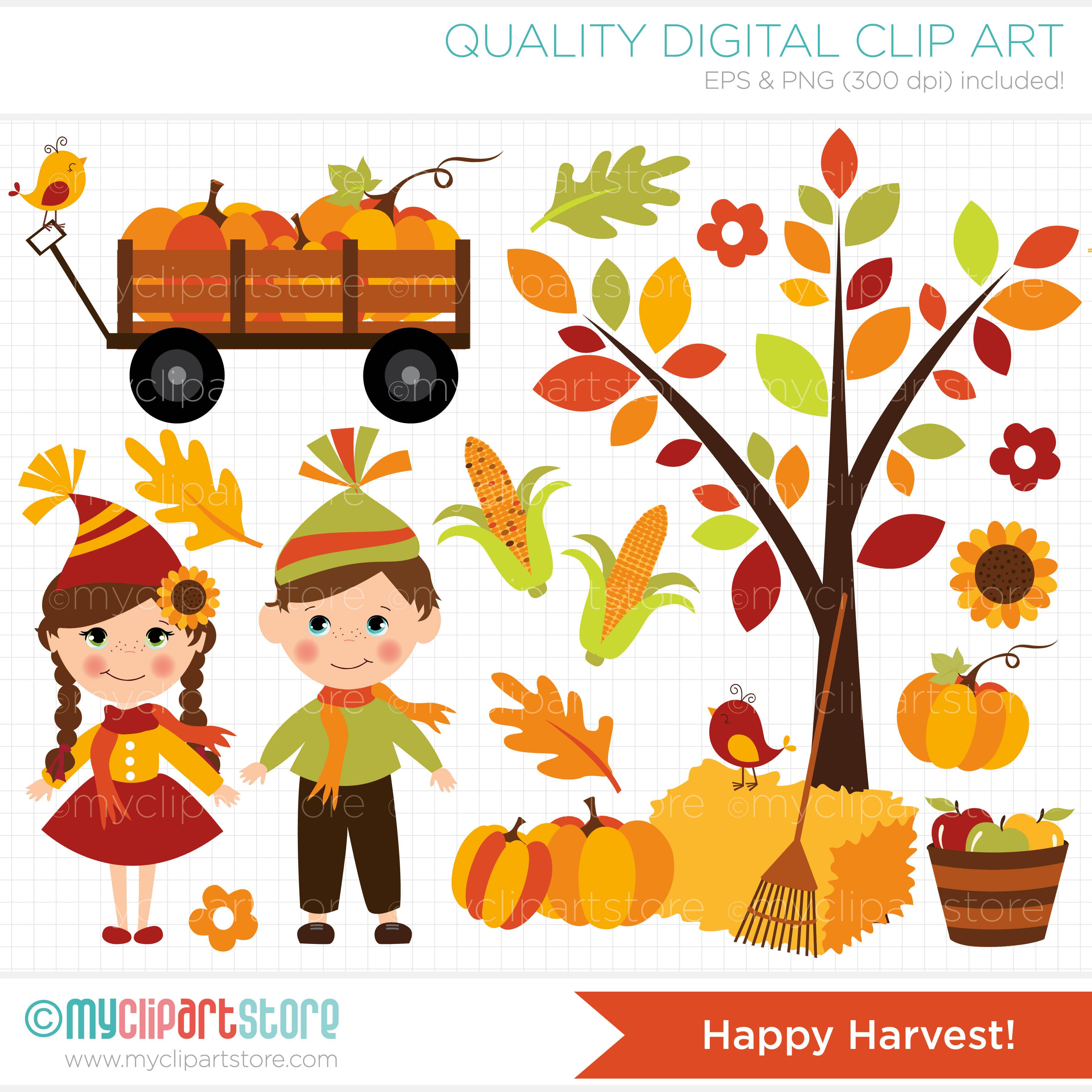 Pumpkin Sunflower Harvest Clipart.