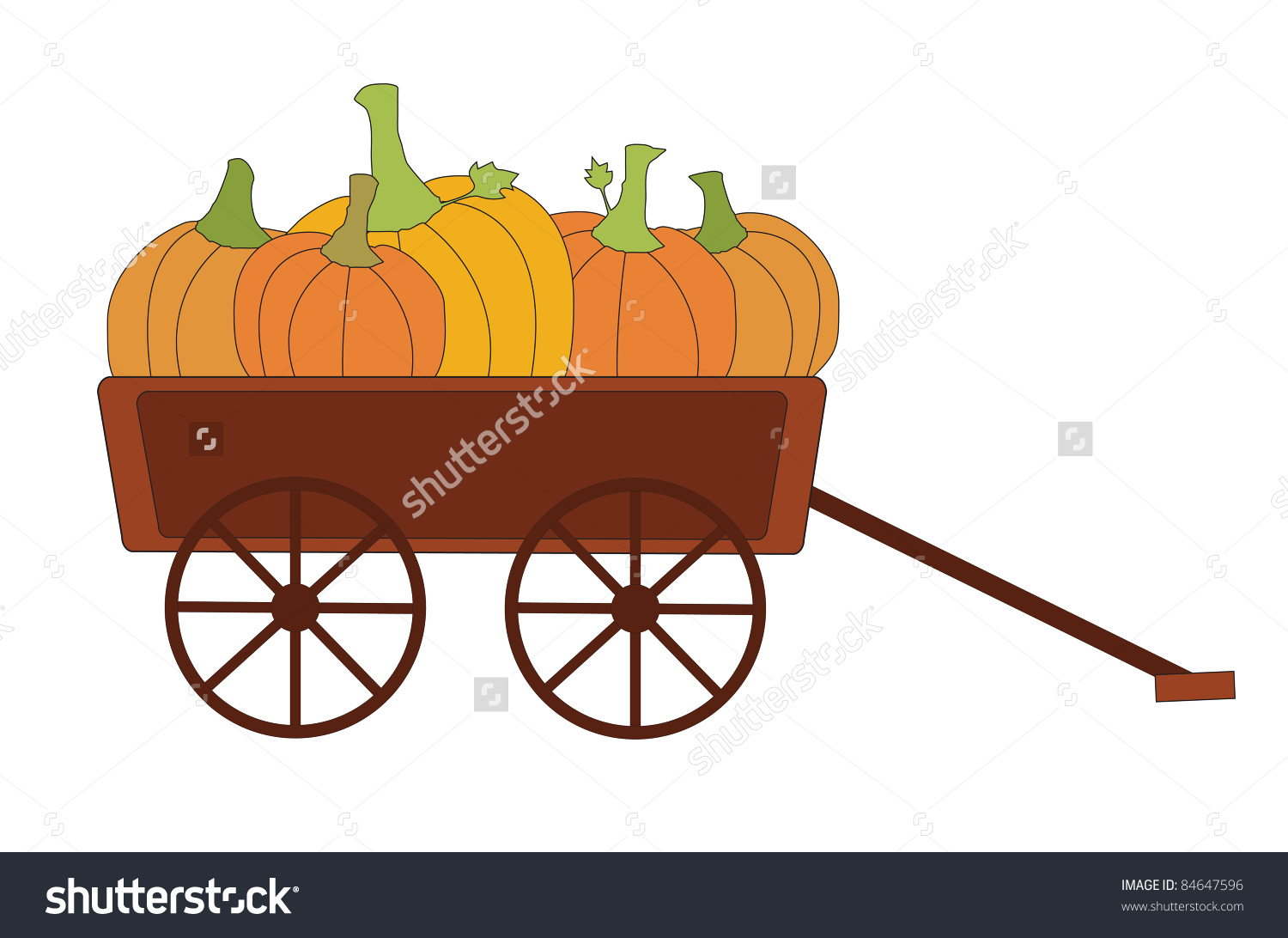 Vector Of Harvest Pumpkins In Wagon, With Fall Autumn Colors Of.