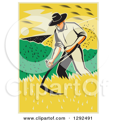 Clipart of a Retro Male Famer Using a Scythe and Harvesting a Crop.