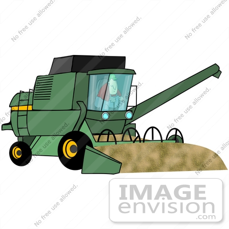 Clip Art Graphic of a Farmer Driving A Harvester.