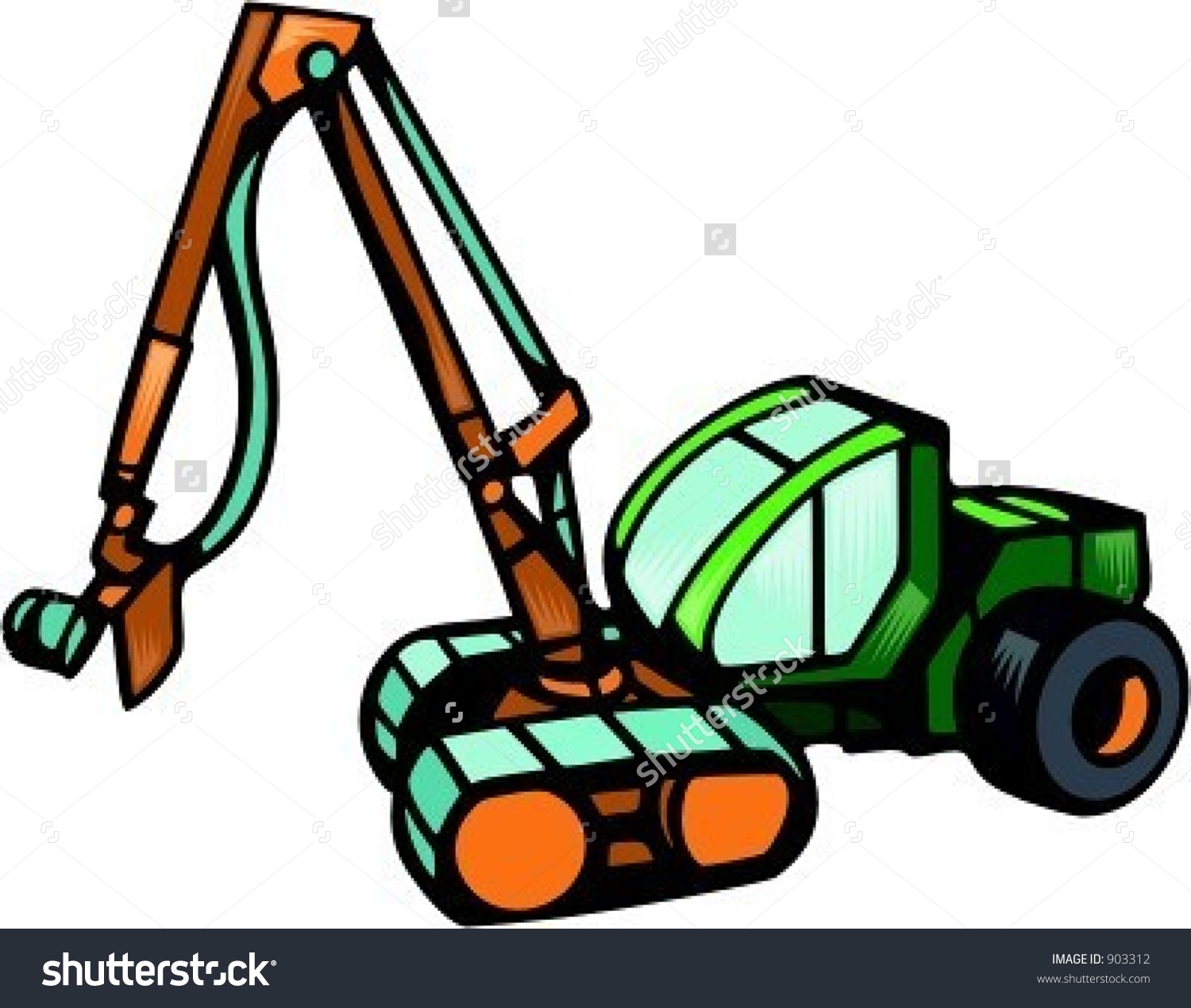 Wheeled Harvestervector Illustration Stock Vector 903312.