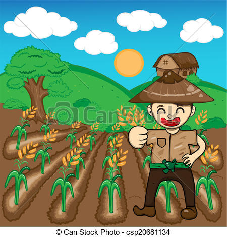Vectors of Farmer and rice a harvest vector illustration cartoon.