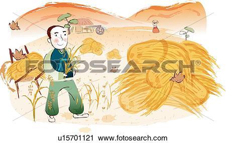 Harvesting rice Stock Illustration Images. 123 harvesting rice.