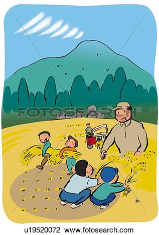 Clip Art of Children and Farmer Harvesting Rice Together.