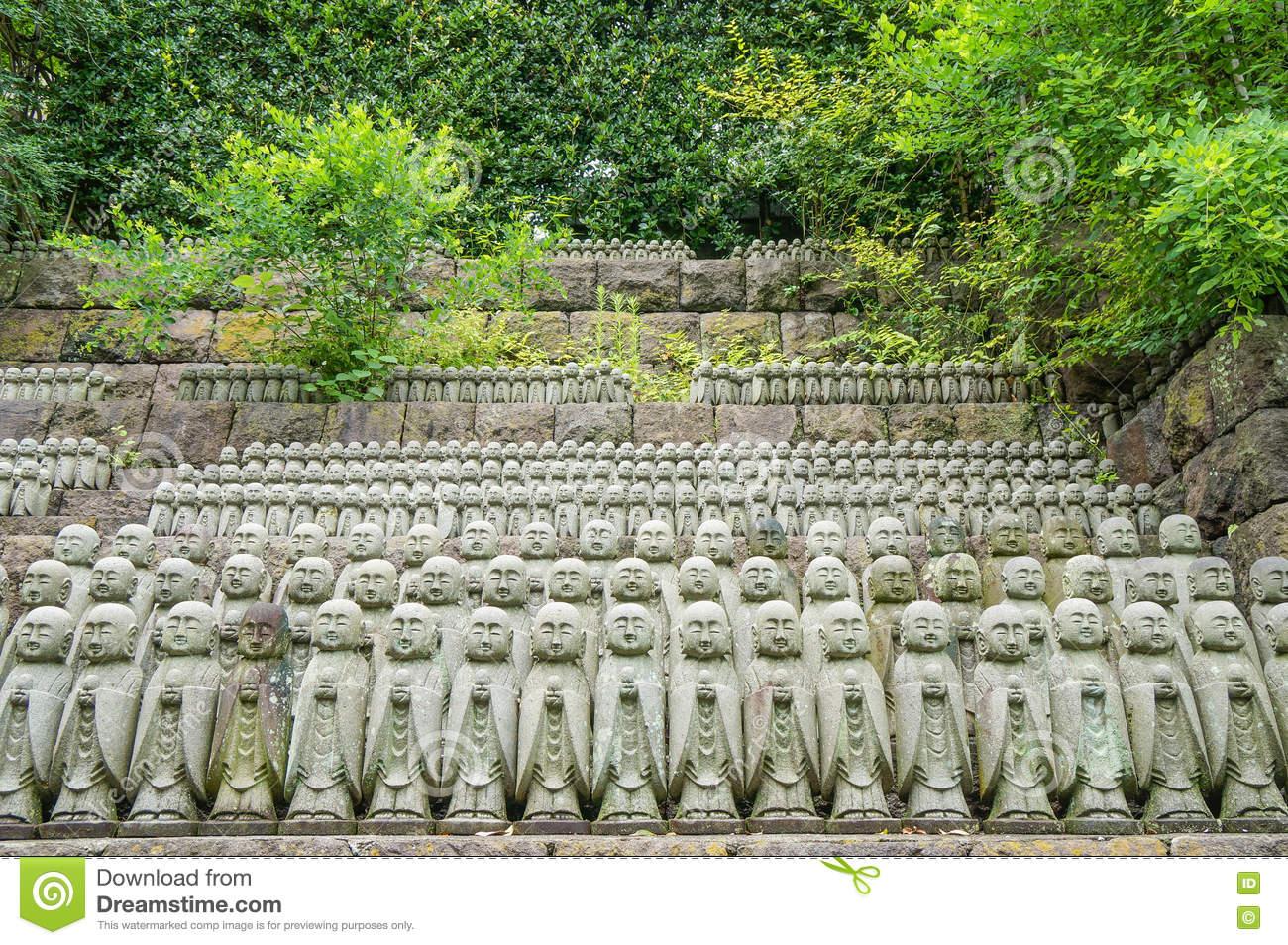 Stone Jizo Bodhisattva Statues In The Hase.