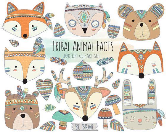 Caras animales tribales imágenes prediseñadas.