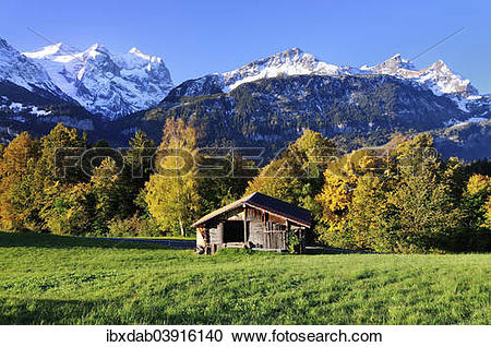 "Stock Photography of ""Wooden hut in Hasliberg, with view on the."
