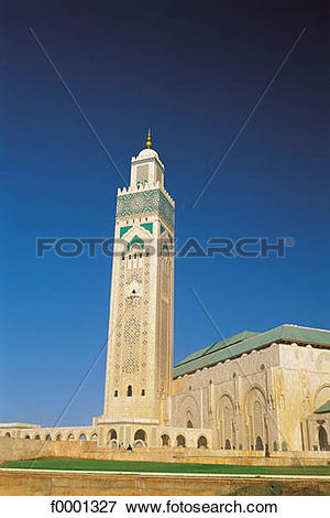 Picture of minaret, Islam, Morocco, Northern Africa, Casablanca.