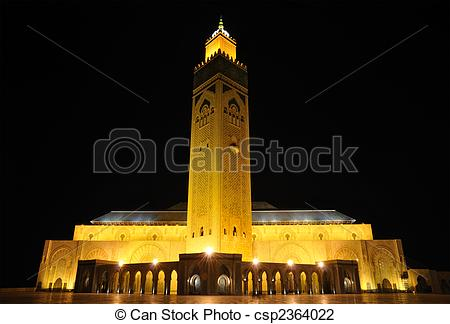 Stock Photo of Mosque Hassan II in Casablanca, Morocco Africa.