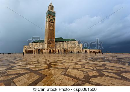Stock Photography of Panorama of the front of Hassan II Mosque in.