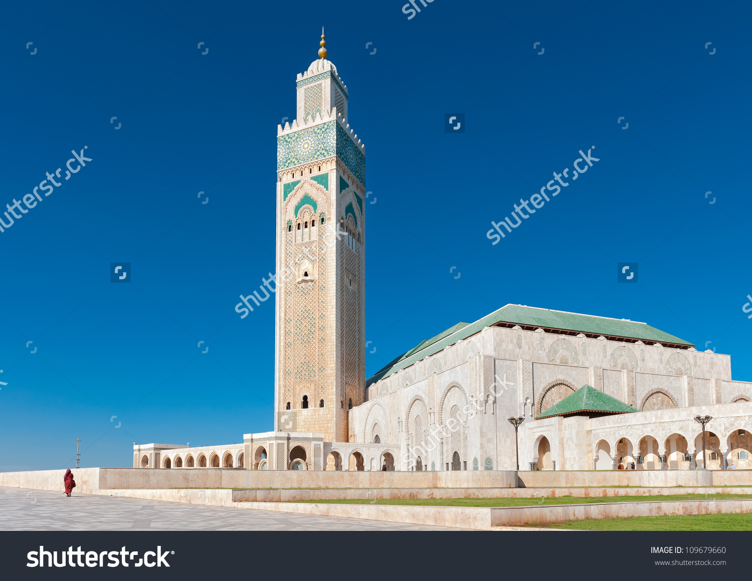 Side View Modern Mosque Hassan Ii Stock Photo 109679660.