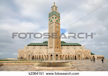 Stock Photography of Hassan II Mosque in Casablanca, Morocco.