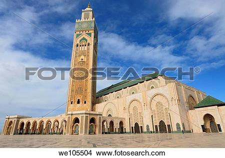 Stock Photo of Wide angle view of Hassan II Mosque in Casablanca.