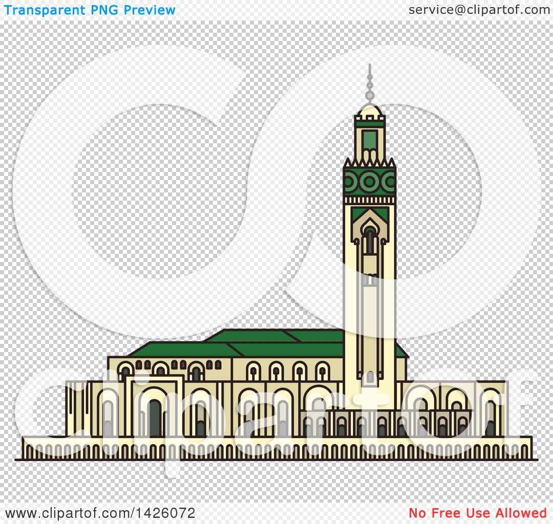 Clipart of a Line Drawing Styled Morocco Landmark, Hassan II.