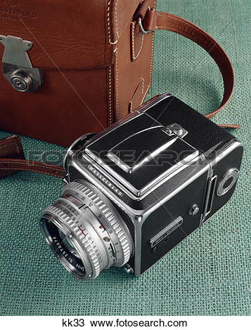 Stock Photo of 1960s still life hasselblad camera leather case.