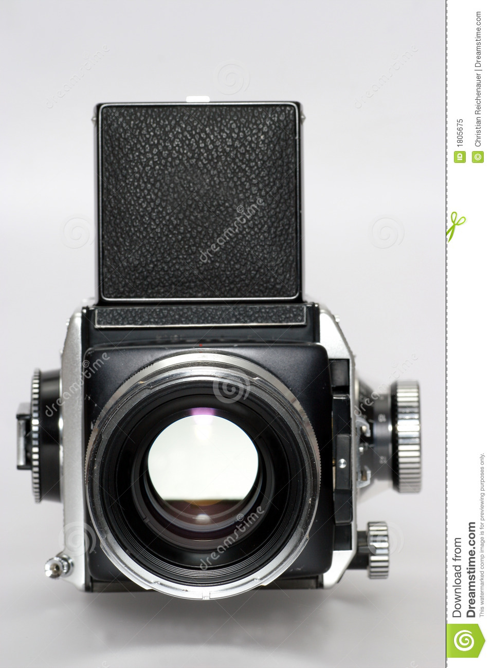 Medium Format Camera With Lens Frontview Royalty Free Stock Photo.