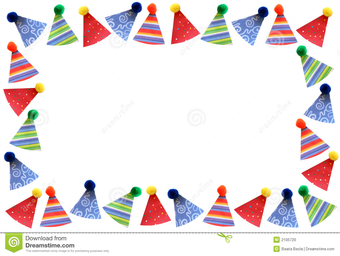 Party hats frame stock photo. Image of birthday, happiness.