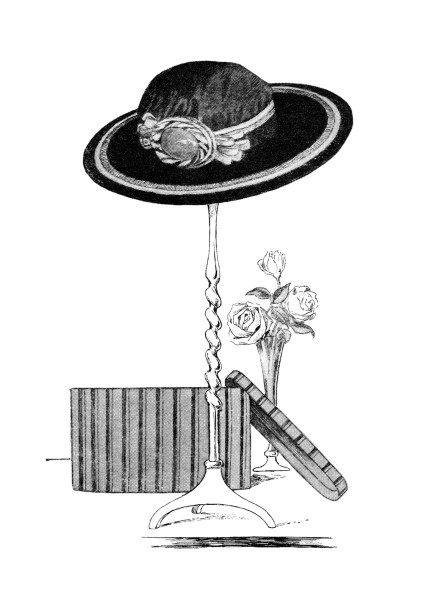 vintage hat clip art, black and white clipart, ladies hat on.