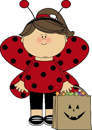 Halloween Ladybug Girl Clip Art.