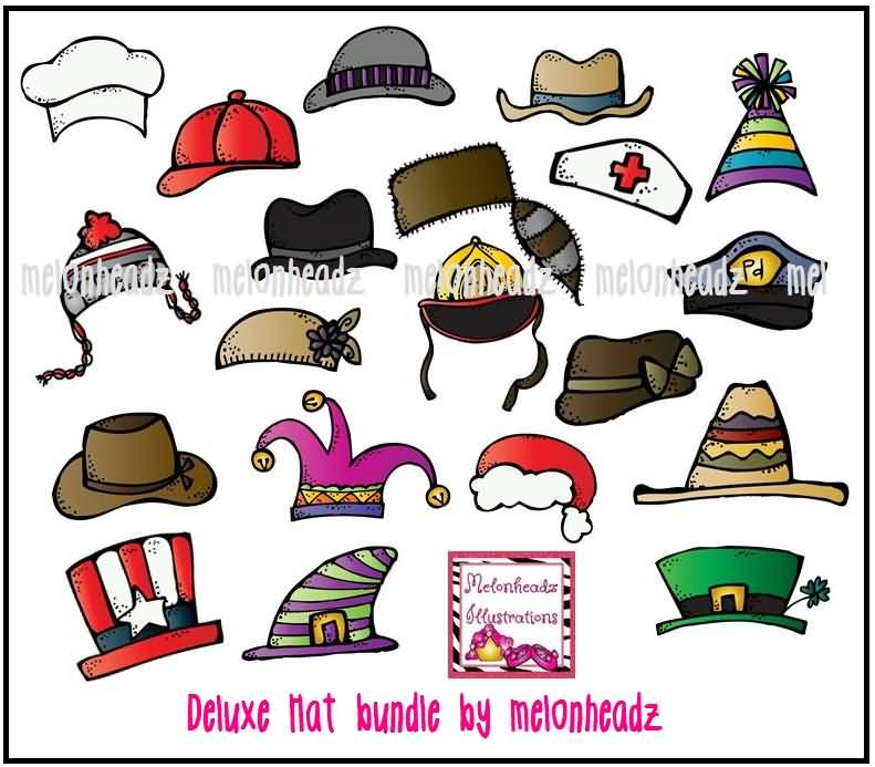 Different Hats For National Hat Day Clipart.