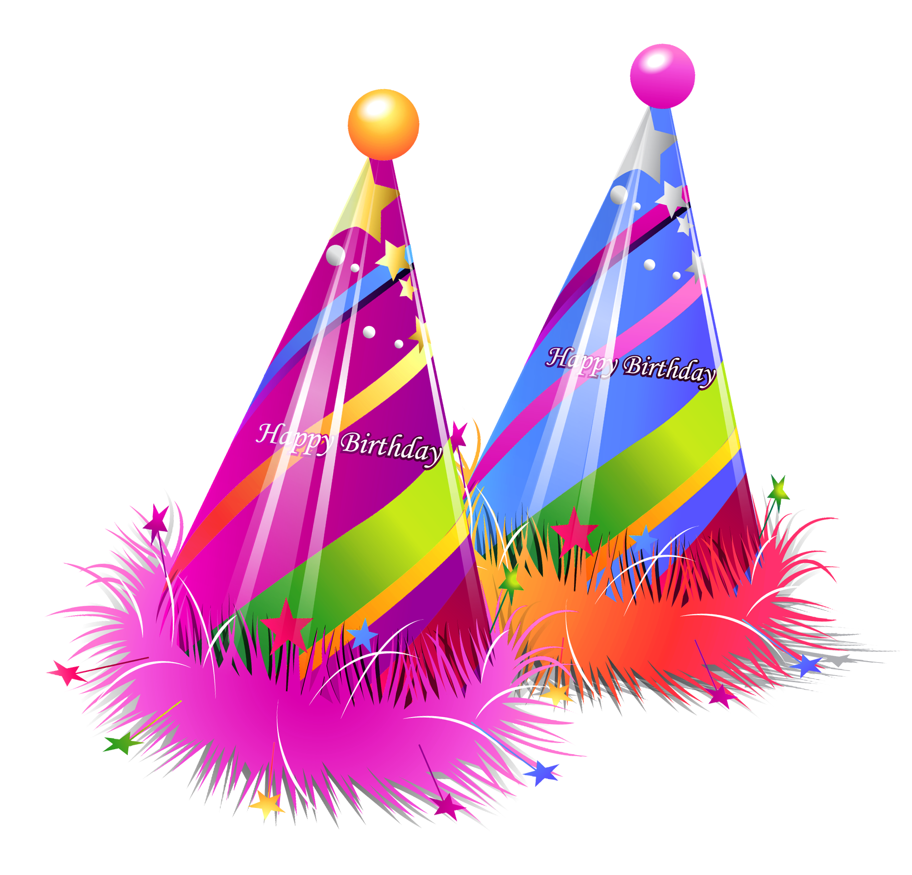 Happy Birthday Party Hats Transparent PNG Clipart.