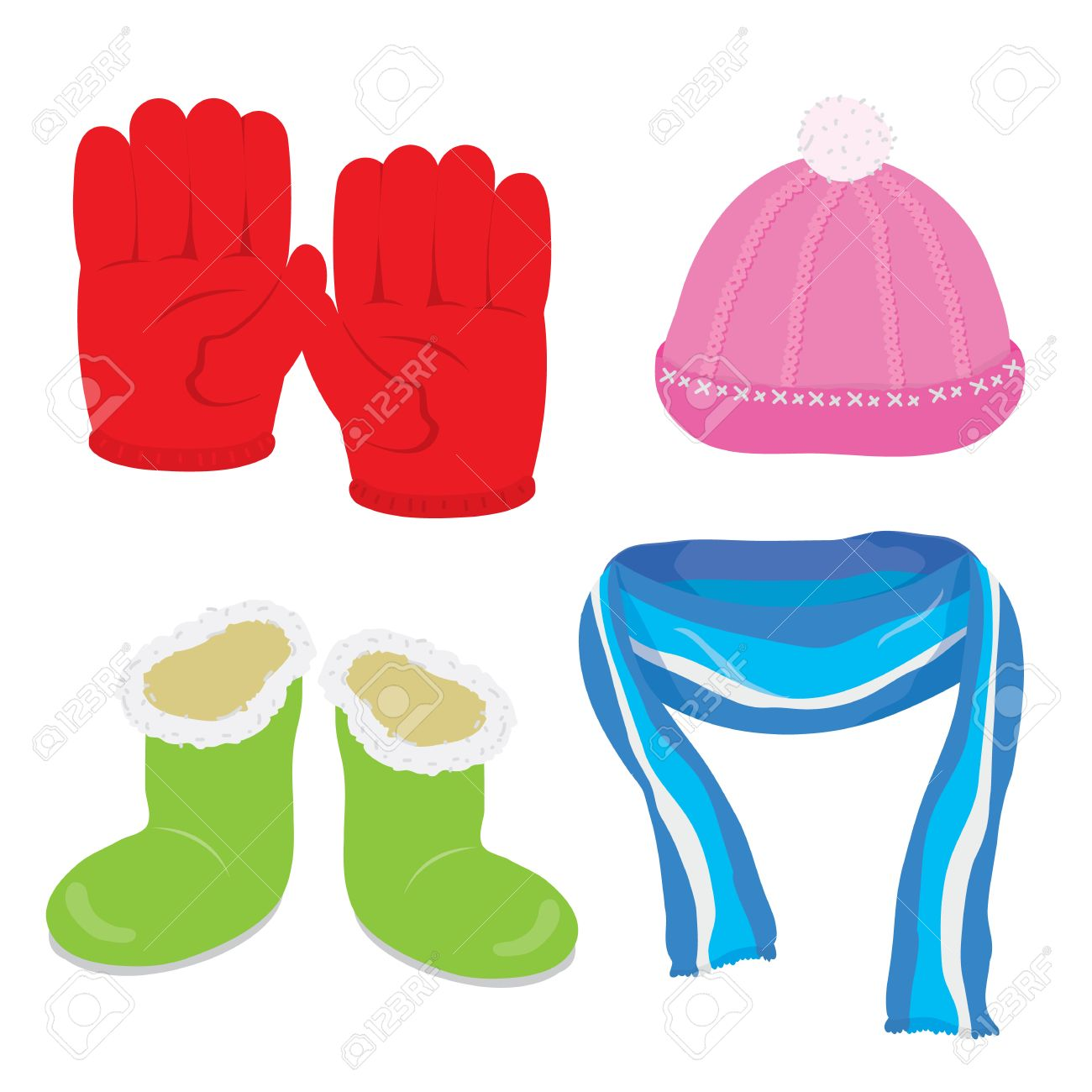 Gloves Hat Boots Scarf Cartoon Vector.