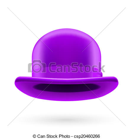 Clip Art Vector of Violet bowler hat.