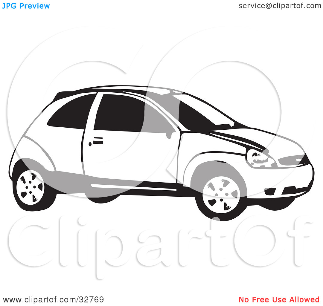 Clipart Illustration of a Black And White Ford Focus Hatchback Car.