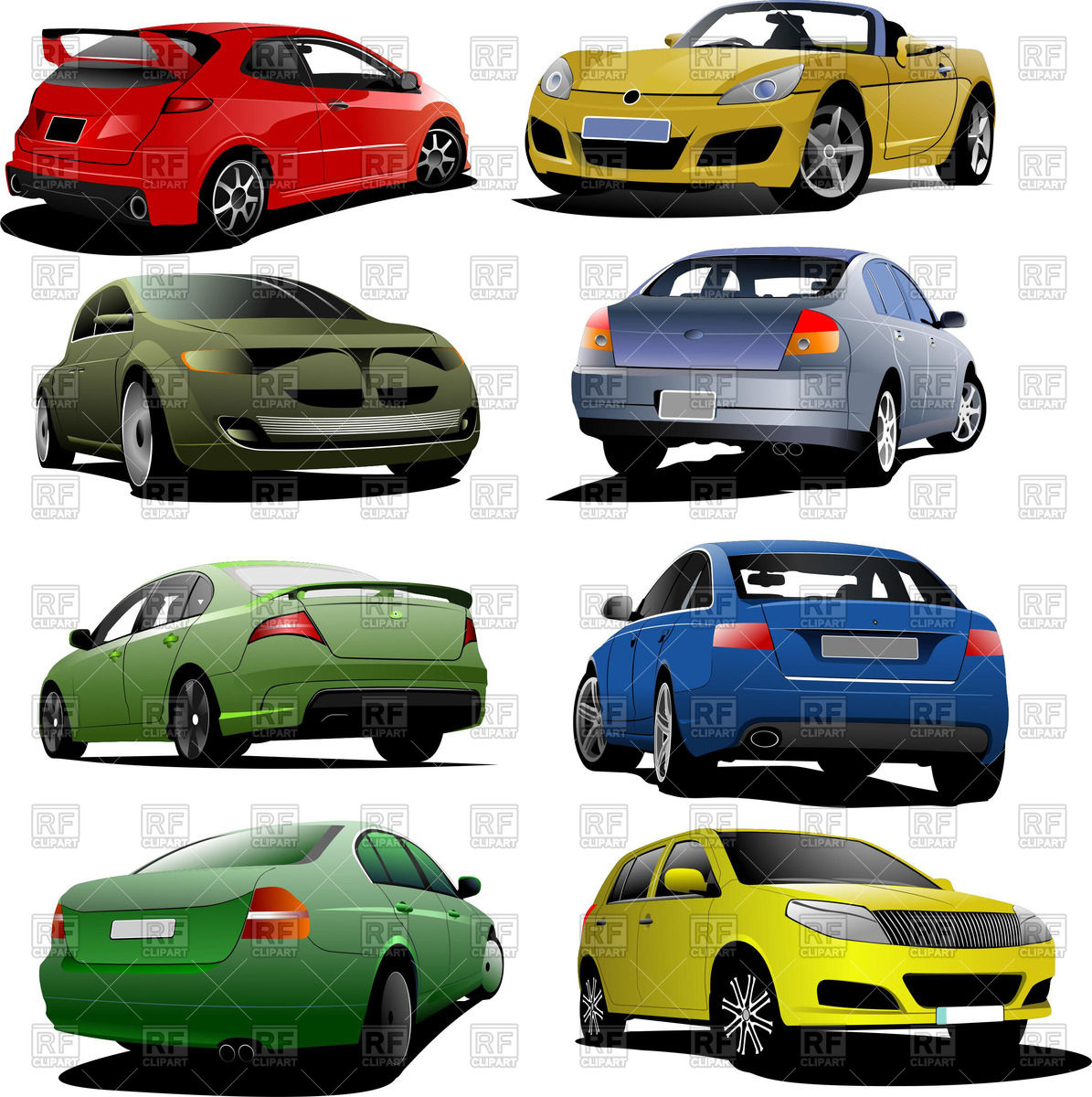Different automobiles: sport car, sedan, cabriolet and hatchback.