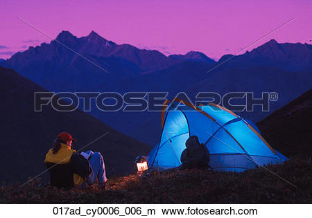Stock Photo of People Camping @ Hatcher Pass Southcentral Alaska.
