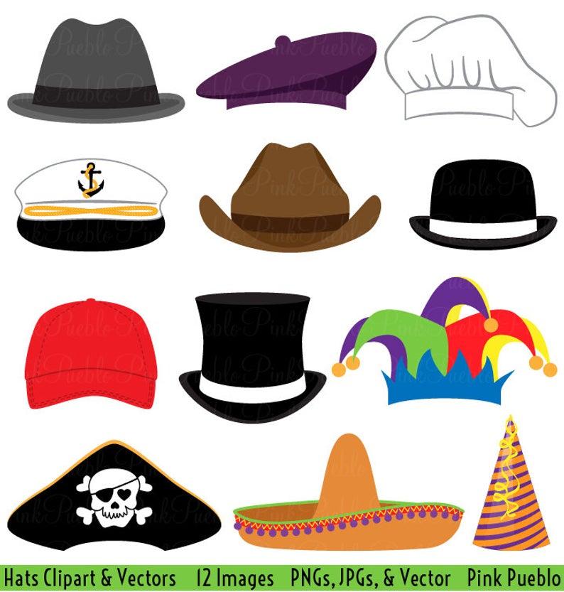 Hats Clipart Clip Art, Party Hat Top Hat Clipart Clip Art Vectors  Photobooth Props.