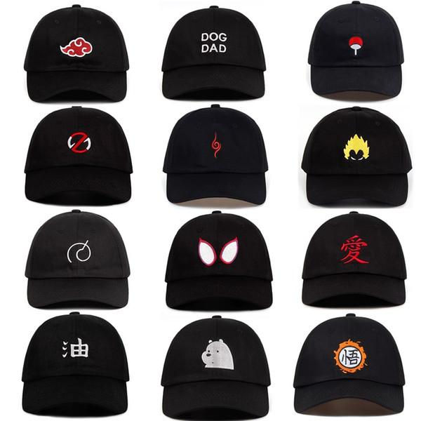 100% Cotton Japanese Anime Naruto Akatsuki Logo Father Hat Uchiha Family  Logo Embroidered Baseball Caps Black Snapback Hats Dropship Newsboy Cap.