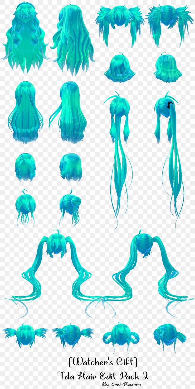 MikuMikuDance Hatsune Miku Hair Editing Model, PNG.