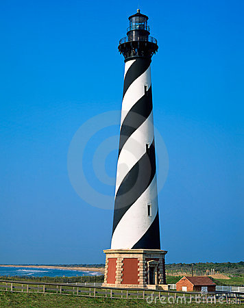 Cape Hatteras Lighthouse Vertical North Carolina Stock Photo.