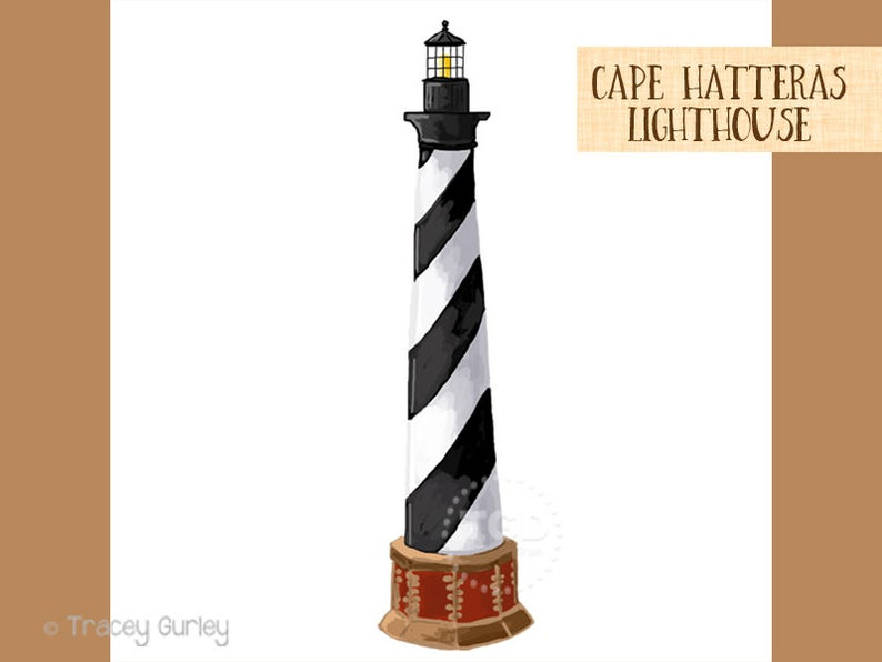 Cape Hatteras Lighthouse Clip Art, Beach clip art, hand painted clip art,  North Carolina landmark.