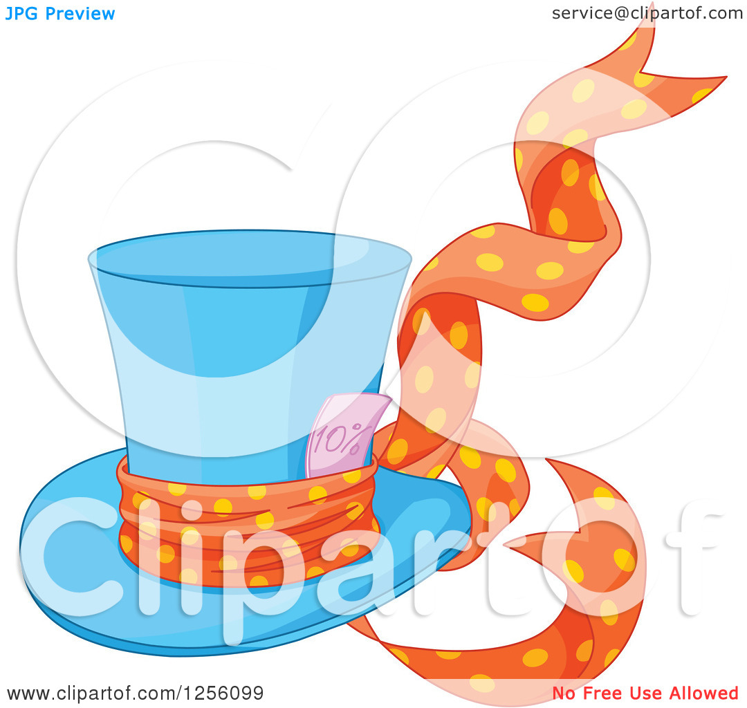 Clipart of a Blue Mad Hatter's Top Hat with a Ribbon and Ten.