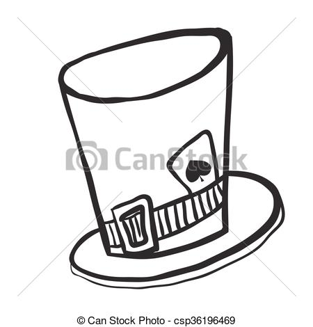 Clip Art Vector of simple black and white mad hatters hat cartoon.