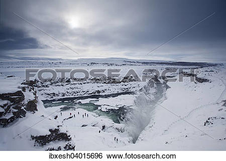 "Stock Images of ""Gullfoss in winter, Haukadalur, Southern Region."