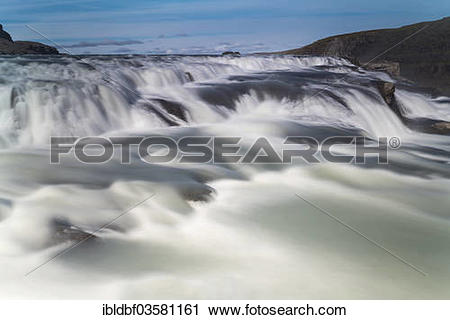 "Stock Photography of ""Gullfoss waterfall on river Hvita, Tal."