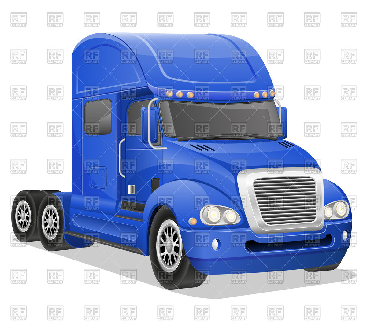 American haulage truck with with blue cab Vector Image #39941.