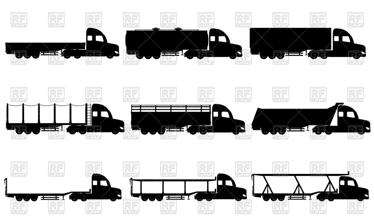 Haulage truck silhouettes Vector Image #101471.