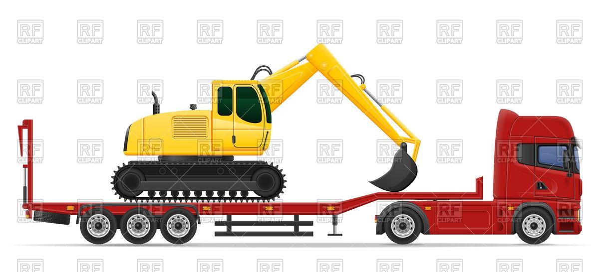 Haulage truck transporting excavator Vector Image #100733.